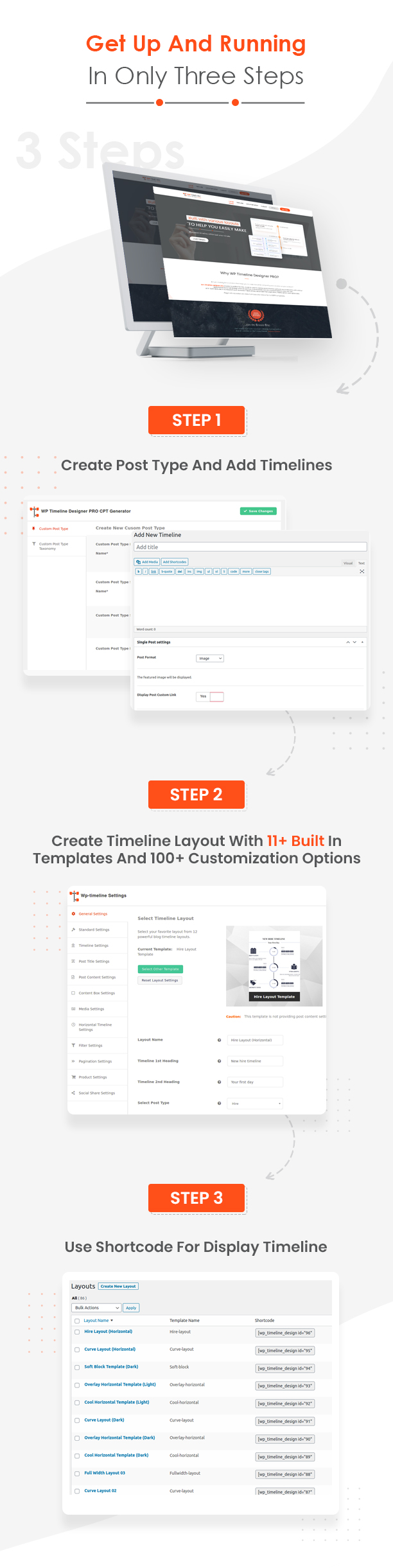 WP Timeline Designer plugin how it works