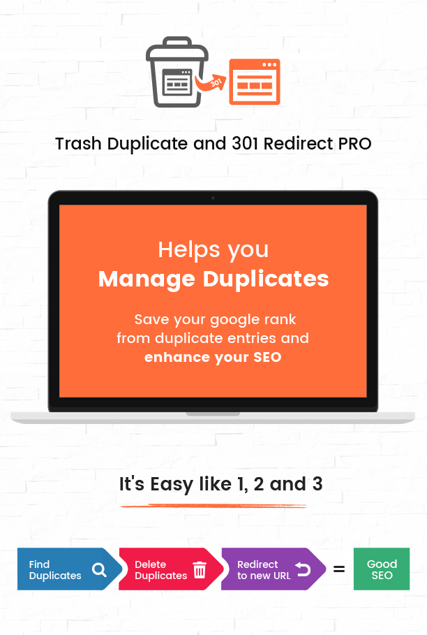 Trash duplicate and 301 redirect - easy to use WordPress plugin