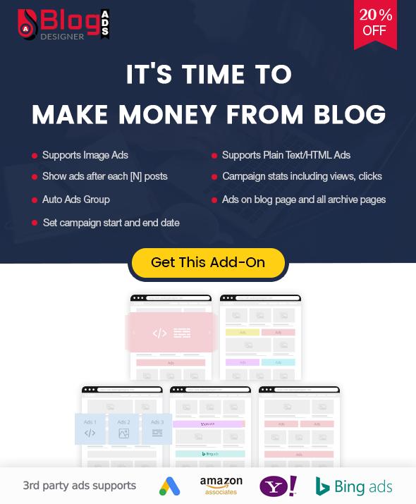 Blog Designer Ads addon for Blog Designer PRO