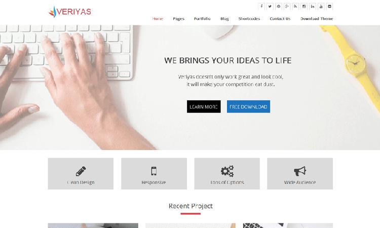 Veriyas free premium wordpress theme